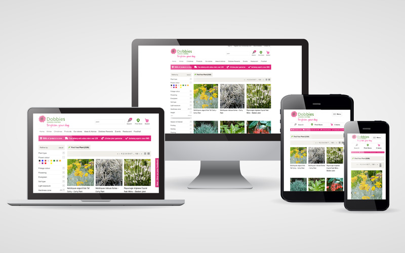 Dobbies image search responsive screens